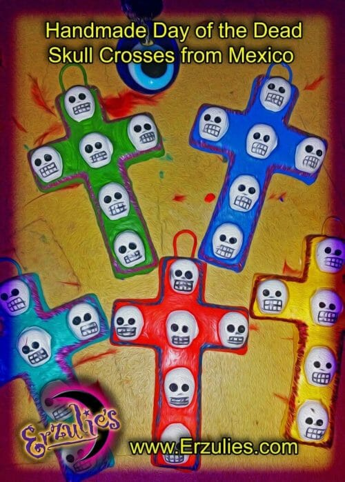 Day of the Dead, Skull Art, Skull Cross, Skull Crosses, Day of the Dead Altar Cross, Folk Art, Day of the Dead Art, Mexican Folk Magic, Sacred Crosses, Magical Amulets, Protection, Banishing, Blessings, Ancestors, Voodoo Magic, Voodoo Rituals, Magic Spells, Uncrossing, Voodoo Spells